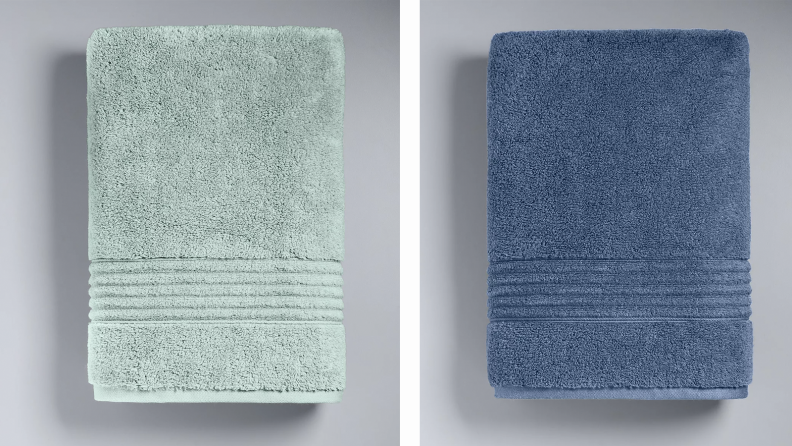 Two fluffy towels in shades of blue