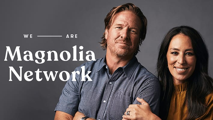 Chip and Joanna Gaines with Magnolia Network text