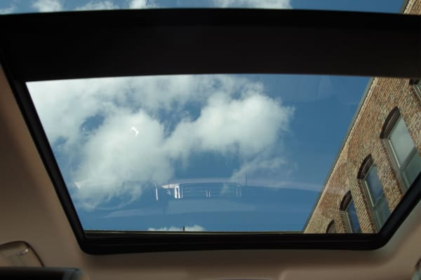 A panoramic sunroof sits far above passengers' heads.