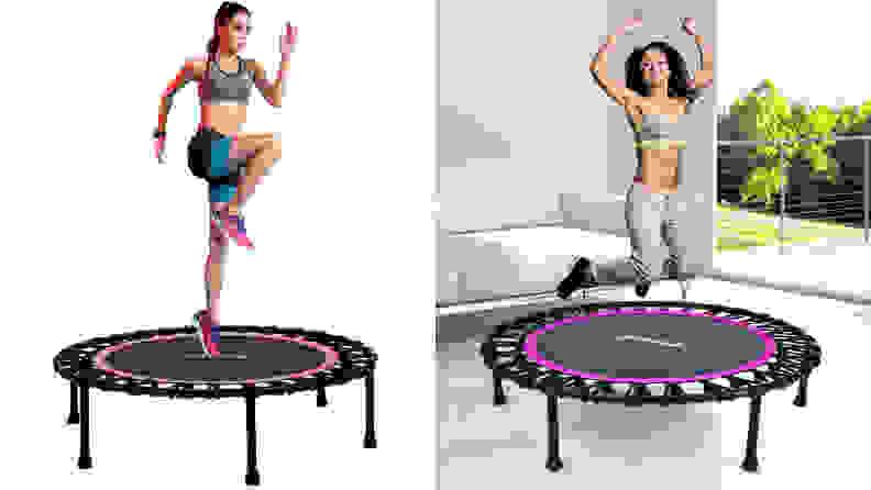 Two women exercising on rebounders.