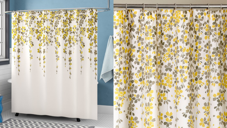 A shower curtain with yellow flowers.