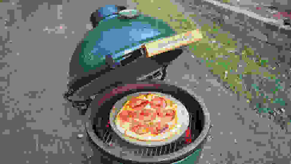 Big Green Egg with pizza