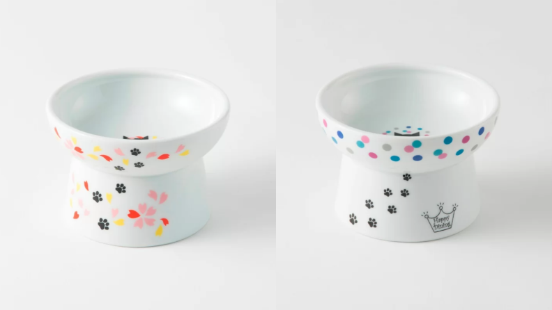 An image of two raised ceramic bowls in polka dot print.