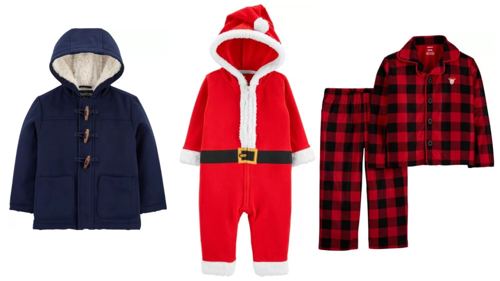 An image of a blue toggle coat, a Santa onesie, and buffalo plaid pajamas from Carter's