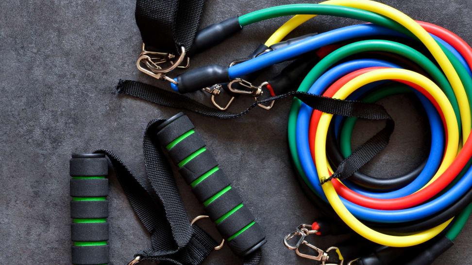 colorful resistance bands on dark background