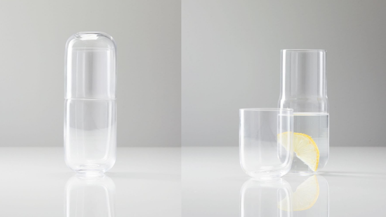 A glass water carafe and stackable water glass. On the left, the glass is stacked on top of the carafe. On the right the glass is next to the carage.