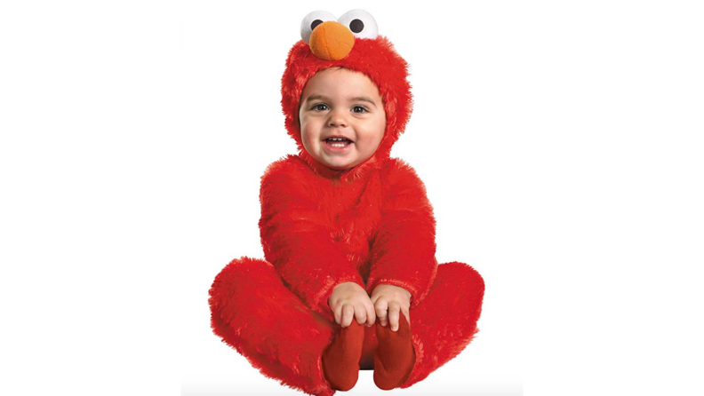 A baby dressed in an Elmo costume.