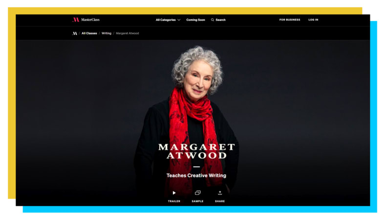 A snapshot of the MasterClass webpage.