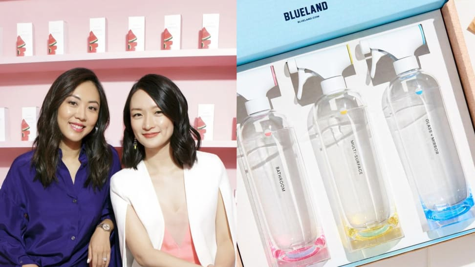 Left: Asian female founders of Glow recipe brand, Right: Blue Land cleaning supplies in box