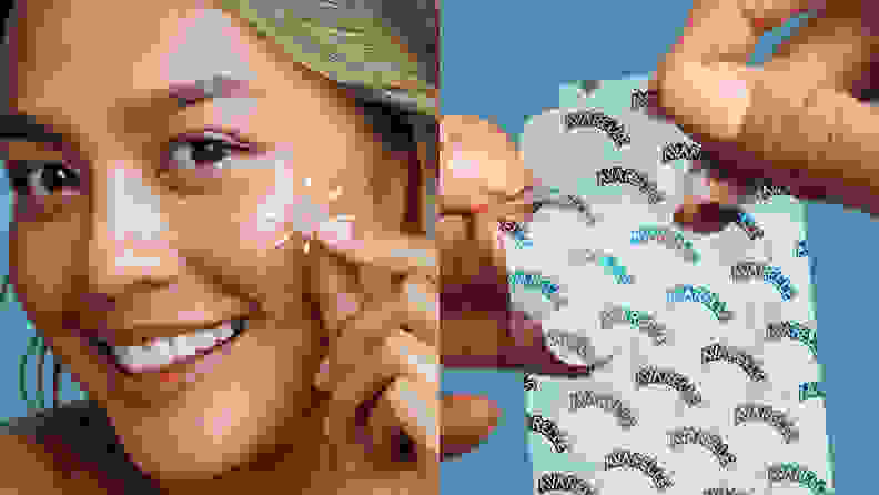 On the left: A model applying a pimple patch to her face. On the right: Two hands are holding a pack of pimple patches.