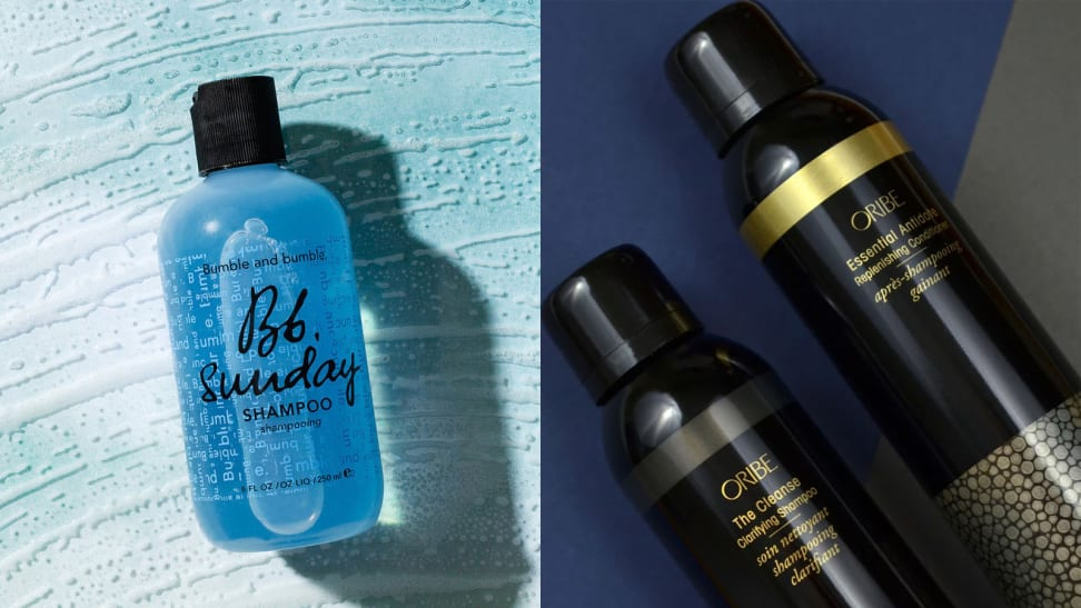 The Bumble and Bumble Sunday Clarifying Shampoo next to the Oribe The Cleanse Clarifying Shampoo.