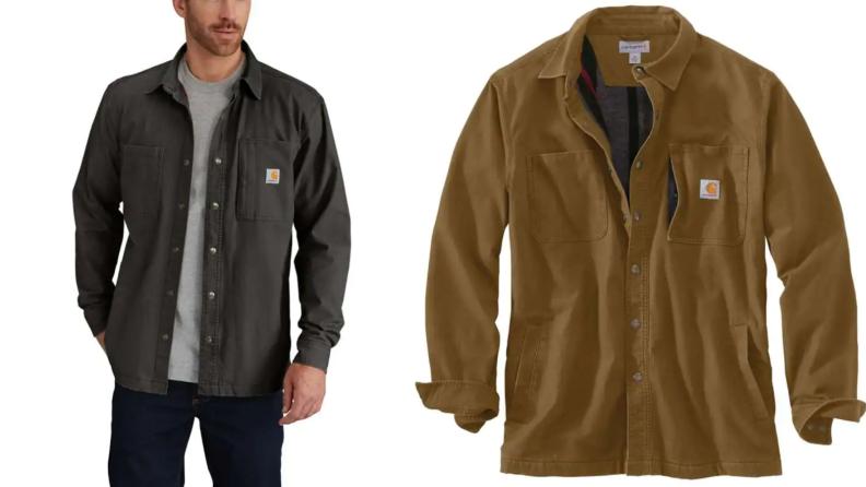 Man wearing chore jacket from Carhartt, brown chore jacket from Carhartt.