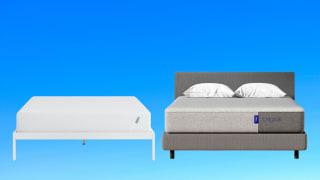 a tuft & Needle original mattress alongside the Casper original on a gradient blue background