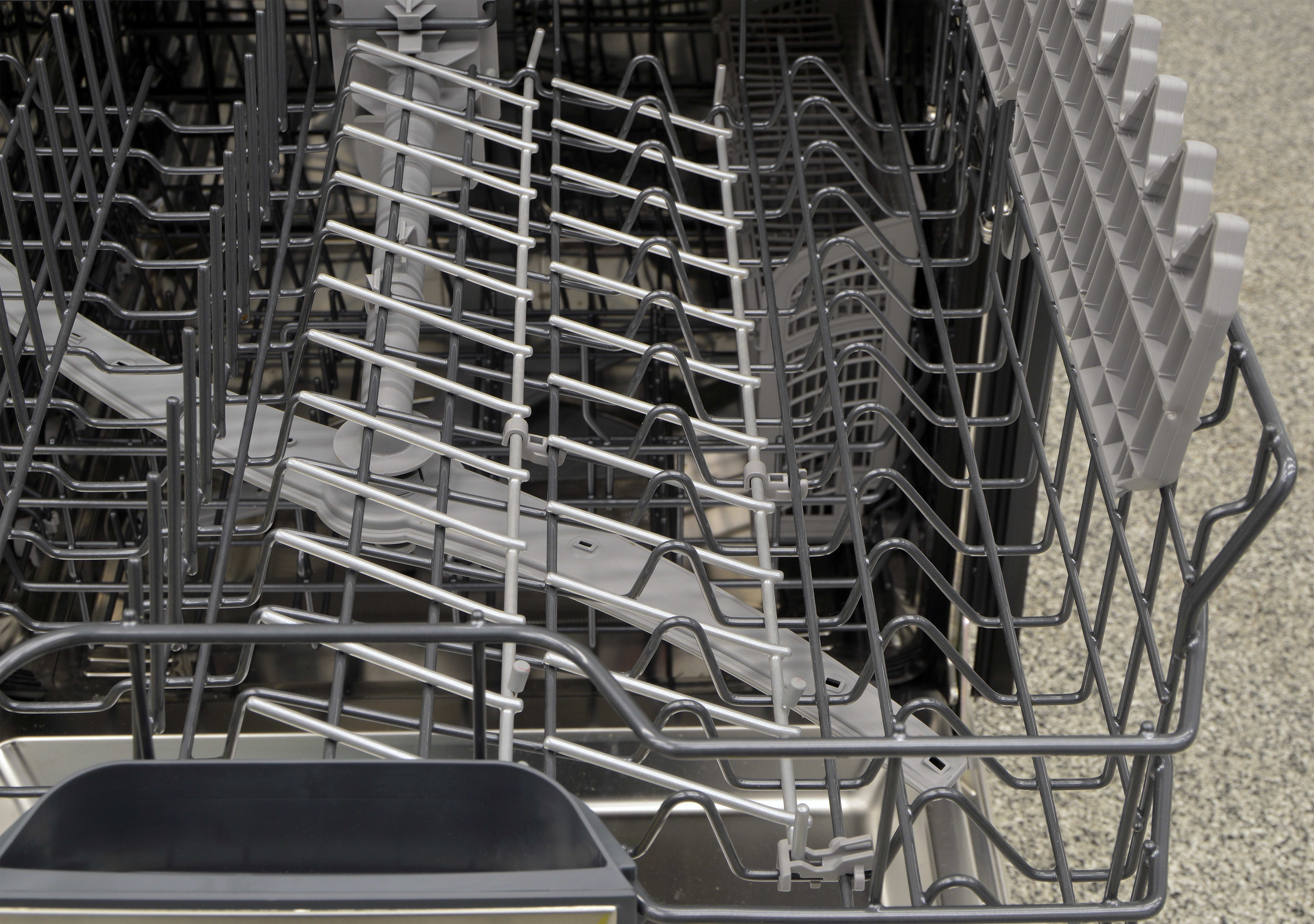 The tines of the upper rack folded down
