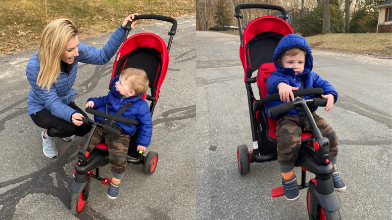 (Left) A parent secures their child in the Smarttrike. (Right) A child rolls down a sidewalk with the Smarttrike.