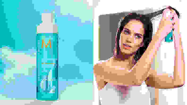 On the left: The light blue spray bottle from Moroccanoil with a blue sky behind it. On the right: A person holds a strand of their long brown hair up and sprays the blue bottle into it.