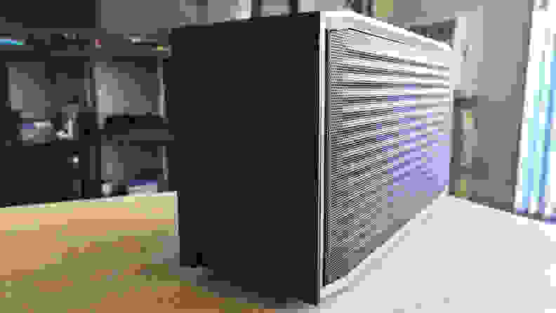 A desktop PC from an angled side view
