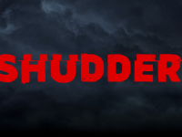 The red Shudder logo is centered against a dark, smoky backdrop.