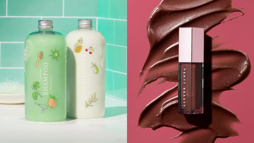 On the left: Two Function of Beauty bottles (a green shampoo and a white conditioner) stand next to each other on the side of a white bathtub with green tiling in the background. On the right: A Fenty Beauty lip gloss in a chocolate brown shade lays over a giant squiggly swatch of the formula on a deep pink background.