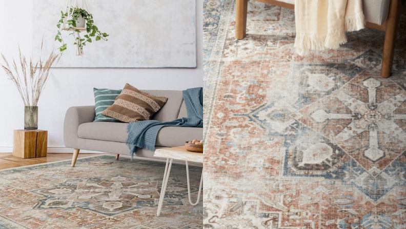 On left, modern living room with unique geometric area rug in the middle. On right, close up of gray, tan and white geometric area rug.