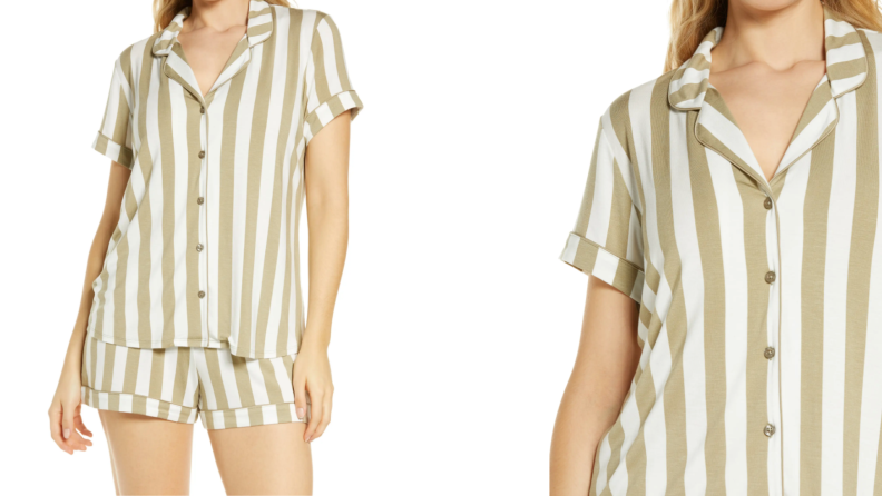 On left, woman wearing tan and white striped pajama short set. On right, close up of woman wearing tan and white striped pajama short set.