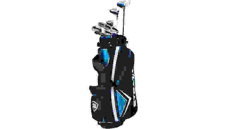 Glob clubs in blue/black bag on white background.