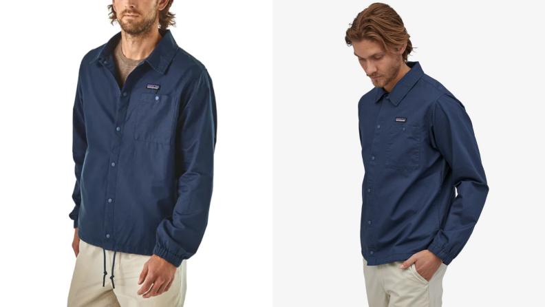 Man wearing a blue hemp-made Patagonia coaches jacket.