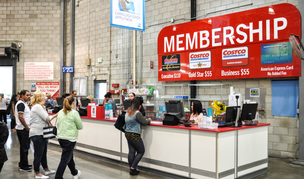 The checkout line at Costco's membership counter