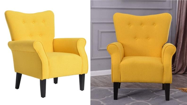 High Wingback Linen Armchair