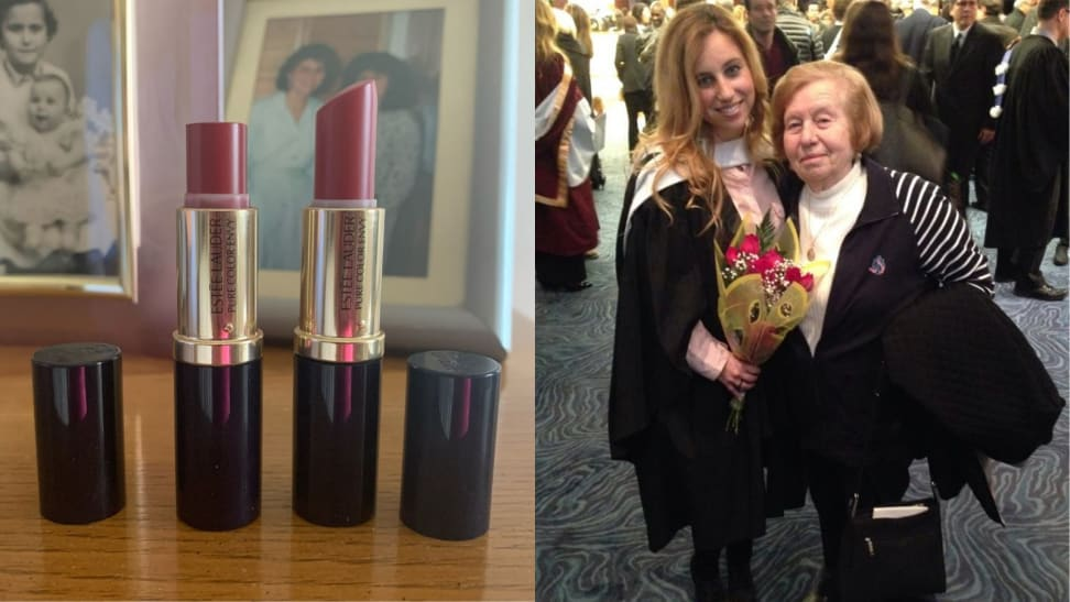 On the left: Two tubes of Estée Lauder lipstick. On the right: The author with her grandmother.