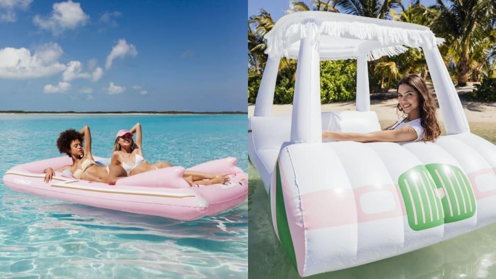 Left: Retro convertible pool float; Right: Golf Cart pool float