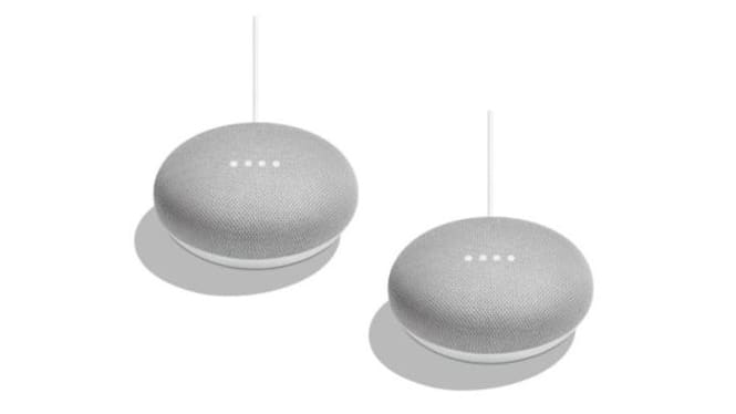 Two grey Google Home Mini smart speakers on white background
