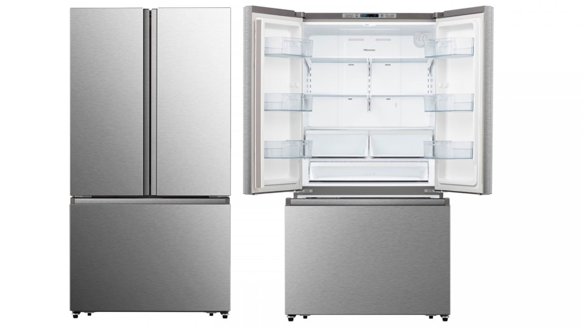 A side-by-side of two Hisense HRF266N6CSE French-door refrigerators. The left one is closed and the right one is open, showcasing its empty interior.