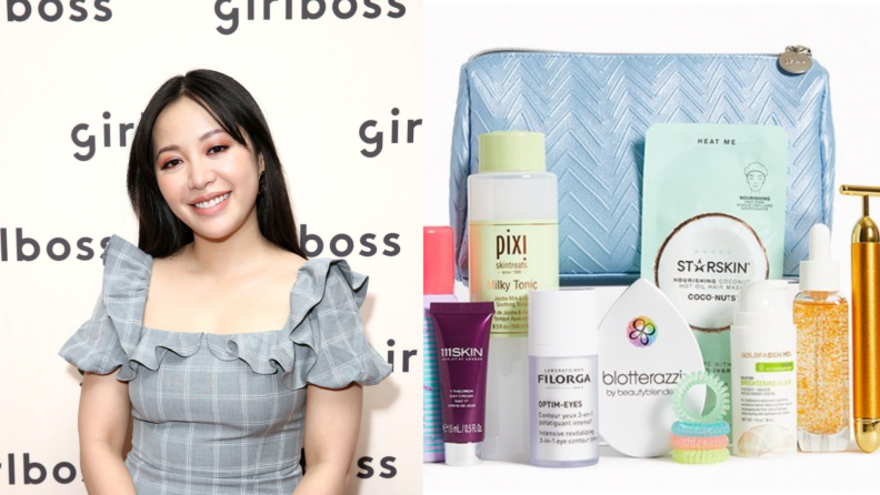 On the left: A photo of Michelle Phan, Ipsy's co-founder. On the right: A photo of an Ipsy bag with numerous products placed around it.