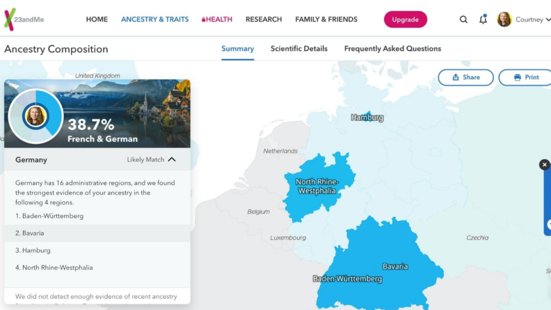 23andMe map highlighting regions on an interactive map