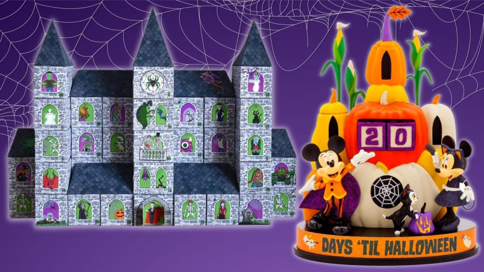 Halloween-themed calendar and countdown in front of purple background with spider webs.