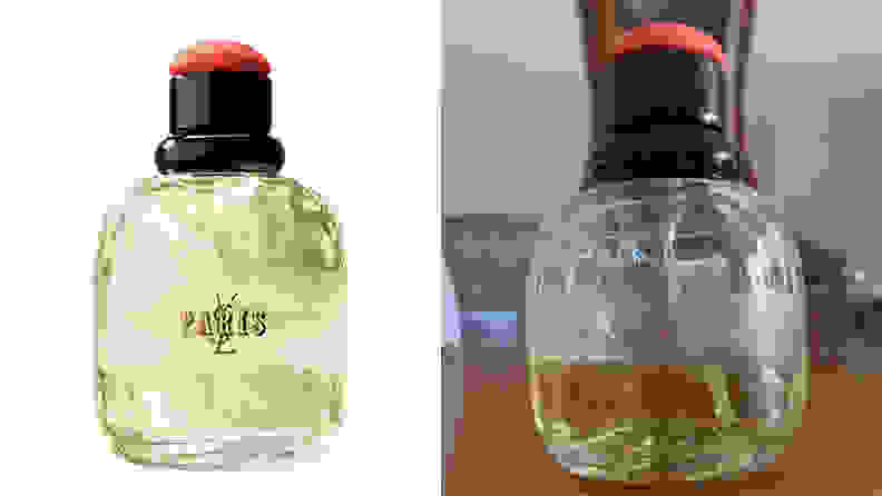 On the left: A bottle of the YSL Paris perfume. On the right: A bottle of perfume sits on a table.