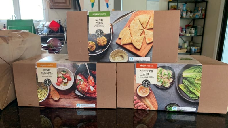Amazon meal kit boxes on kitchen counter