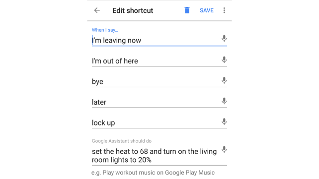 Google Home Shortcut Leaving Home