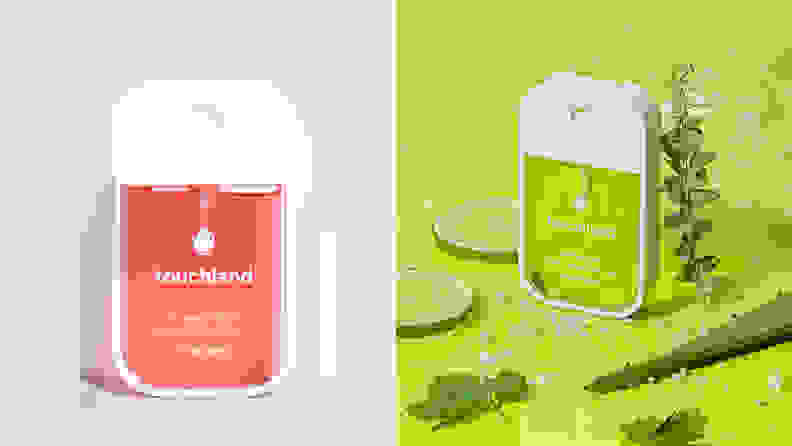 On the left: A bottle of Touchland spray santizer with a pink liquid inside it. On the right: A bottle of the sanitizer with a green liquid in it and green fruits around the bottle.