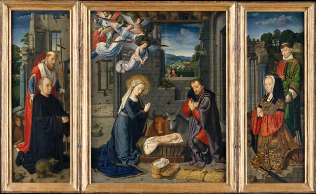 The Nativity with Donors and Saints Jerome and Leonard