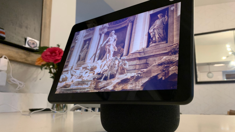 Amazon's Echo Show 10 smart display sits on a kitchen counter.