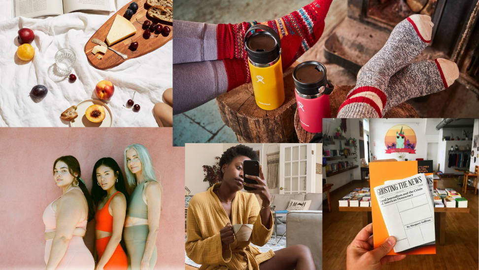 Photo collage of socks, people, robe, food, and books.
