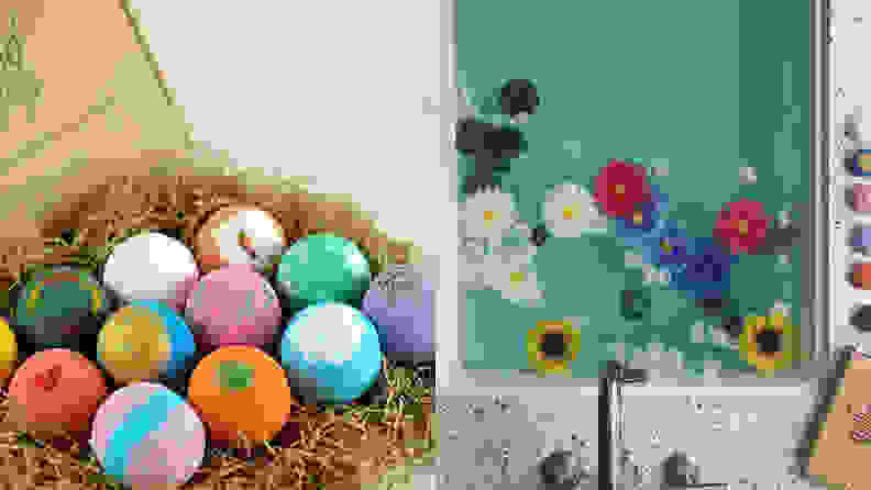 Assorted bathbombs in different colors on left, bath tub with colored water and flowers on right
