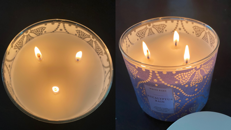 Side by side photos of 3-wick candles from Bath and Body Works.