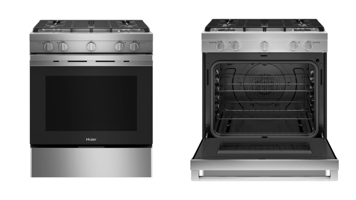 Left: A stainless steel gas range by Haier pictured with a closed door. Right: The same range, but with the door open.