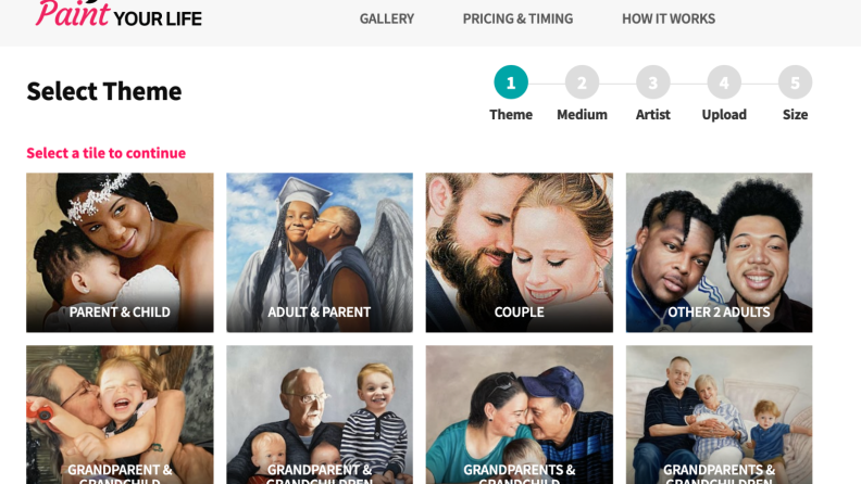 On the Paint Your Life webpage, a selection of the type of portrait can be made, including couple, parent & child, adult & parent, grandparents & grandchildren, and more.