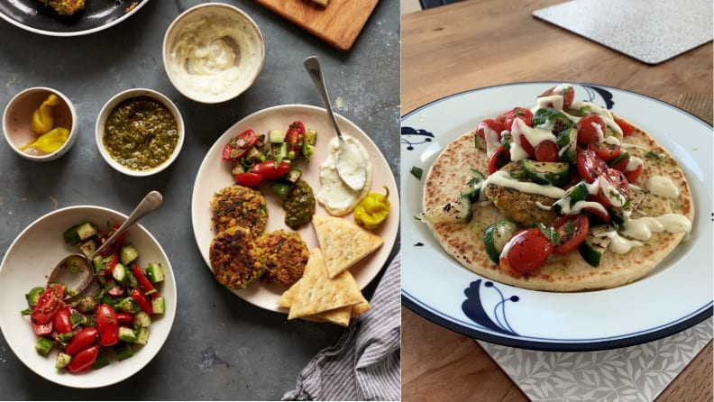 Amazon Meal Kit Falafel Dinner: PR Photo and Actual Photo