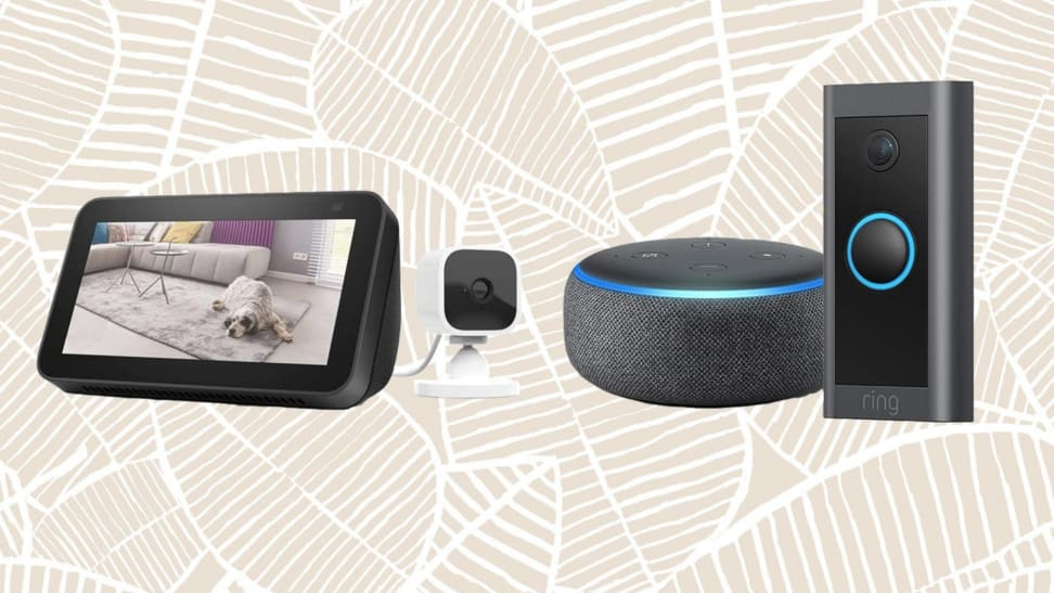 Amazon Blink Mini, Amazon Echo Dot, and Ring Video Doorbell