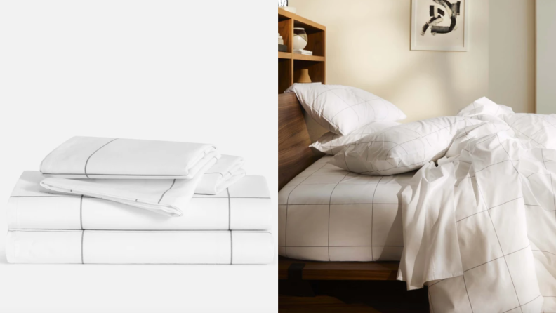 On left, stack of white and gray sheets from Brooklinen. On right, disheveled bed cover with white and gray Brooklinen sheets in bedroom.